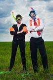 De bedrijfs mensen in scuba-uitrusting maskeren en vinnen royalty-vrije stock foto
