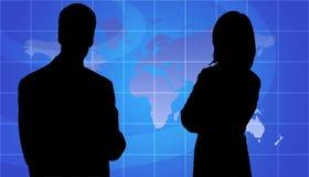 De bedrijfs Mensen silhouetteren, de Achtergrond van de Kaart van de Wereld Royalty-vrije Stock Fotografie