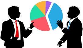 De bedrijfs mensen sluiten zich aan marktaandeelbij cirkeldiagram Royalty-vrije Stock Afbeeldingen