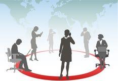 De bedrijfs mensen verbinden het netwerk van de telefooncomputer stock illustratie