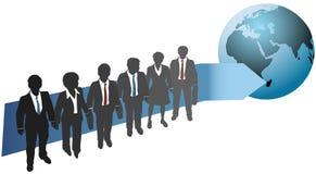 De bedrijfs mensen werken voor globale toekomst Stock Afbeelding