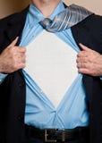 De bedrijfs mensenheld opent overhemd. Royalty-vrije Stock Foto's