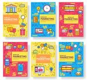 De bedrijfs vectorbrochurekaarten verdunnen lijnreeks De marketing van malplaatje van flyear, tijdschriften, affiches, boekdekkin royalty-vrije illustratie