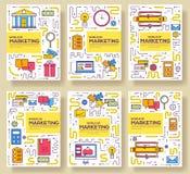 De bedrijfs vectorbrochurekaarten verdunnen lijnreeks De marketing van malplaatje van flyear, tijdschriften, affiches, boekdekkin vector illustratie