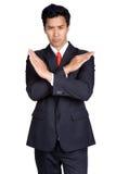 De bedrijfs Verkeerde mens is misleid geïsoleerd kostuum royalty-vrije stock foto's