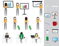 De bedrijfs verschillende vrouw stelt en bureaupictogrammen op witte achtergrond vector illustratie