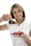 De bedrijfs vrouw adverteert het verkopen van de auto's Royalty-vrije Stock Foto