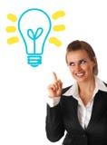 De bedrijfs vrouw die lamp bekijkt met rised vinger Royalty-vrije Stock Afbeelding