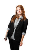 De bedrijfs vrouw houdt klembord Royalty-vrije Stock Foto
