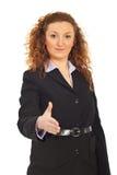 De bedrijfs vrouw nodigt uit om zich bij zaken aan te sluiten Stock Afbeeldingen
