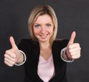 De bedrijfs vrouw toont een gebaar van groot Royalty-vrije Stock Afbeeldingen