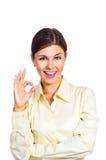 De bedrijfs vrouw toont het teken o.k. Stock Afbeelding