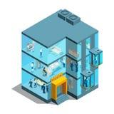 De bedrijfsbouw met glasbureaus en liften Isometrische architecturale vector 3d illustratie vector illustratie
