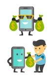 De bedrijfsconceptentelefoon maakt geld voor u Voordelig Smartphone De vector vlakke reeks van de beeldverhaalillustratie Gelukki Royalty-vrije Stock Fotografie