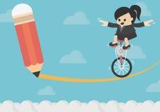 De bedrijfsconceptenweg naar het succes is gevaarlijk en bang makend vector illustratie