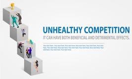 De bedrijfsconcurrentie met het beklimmen op grote treden Ongezonde strijd voor een trofee Verscheidene zakenlieden rennen om te  vector illustratie
