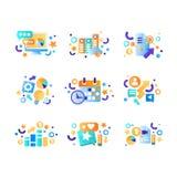 De bedrijfselementen plaatsen, bureauhulpmiddelen, beheer, financiën, strategie, die symbolen vectorillustratie op een wit op de  stock illustratie