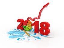 De bedrijfsgrafiek met pijl omhoog en het symbool van 2018, vertegenwoordigt de groei in het nieuwe jaar 2018 Royalty-vrije Stock Fotografie