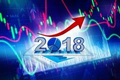 De bedrijfsgrafiek met pijl omhoog en het symbool van 2018, vertegenwoordigt de groei in het nieuwe jaar 2018 3D Illustratie Vector Illustratie