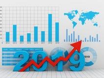 De bedrijfsgrafiek met rode omhoog pijl, vertegenwoordigt de groei in het jaar 2019 stock illustratie