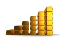 De bedrijfsgrafiek van 3d goudstaven geeft terug Stock Foto
