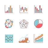 De bedrijfsgrafieken en de gegevenspictogrammen verdunnen lijnreeks stock illustratie