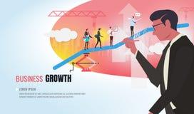 De bedrijfsgroei die commercieel team helpt royalty-vrije illustratie