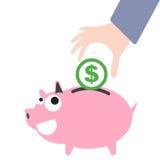 De bedrijfshand die van het spaarvarken en geld, het symbool van de muntdollar voor besparingsconcept aanbrengen Stock Fotografie