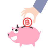 De bedrijfshand die van het spaarvarken en geld, het symbool van muntbaht voor besparingsconcept aanbrengen Stock Afbeeldingen