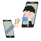 De bedrijfshand, geeft creditcard en de gift of de goederen van de zakenmanlevering via mobiel systeem, elektronische handel het  Stock Foto's