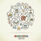 De bedrijfshand trekt schetspictogrammen vector illustratie