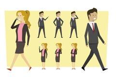 De bedrijfskarakters in kostuum en status stelt met geïsoleerde bac stock afbeelding