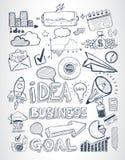 De bedrijfskrabbelsschets plaatste: infographicselementen, Royalty-vrije Stock Foto