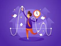 De bedrijfsleidercontroles organiseren tijd stock illustratie