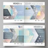 De bedrijfsmalplaatjes voor bi vouwen vierkante brochure, tijdschrift, vlieger, boekje, rapport Pamfletdekking, abstracte vectorl royalty-vrije illustratie