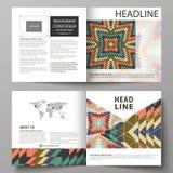 De bedrijfsmalplaatjes voor vierkant ontwerpbi vouwen brochure, tijdschrift, vlieger, boekje Pamfletdekking, abstracte vectorlay- royalty-vrije illustratie