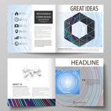 De bedrijfsmalplaatjes voor vierkant ontwerpbi vouwen brochure, tijdschrift, vlieger, boekje of rapport Pamfletdekking, samenvatt vector illustratie