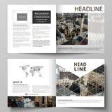 De bedrijfsmalplaatjes voor vierkant ontwerpbi vouwen brochure, vlieger, boekje, rapport Pamfletdekking, abstracte vectorlay-out stock illustratie