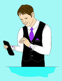 De bedrijfsman met een tablet Stock Afbeelding