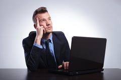De bedrijfsmens denkt achter laptop Royalty-vrije Stock Fotografie