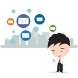De bedrijfsmens die aan Internet werken voor verzendt post naar sociaal netwerkconcept, dat op witte achtergrond, illustratie wor Royalty-vrije Stock Afbeeldingen