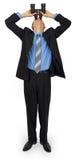 De bedrijfsmens die kostuum met blauwe band met verrekijkers dragen kijkt omhoog Stock Foto's