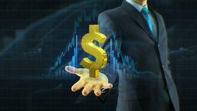 De bedrijfsmens, de dollarpictogram van de zakenmangreep op de handgroei van citaten, munt, uitwisseling groeit concept stock video