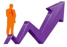 De bedrijfsmens en grafiekgroei Stock Afbeeldingen