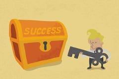 De bedrijfsmens heeft sleutel aan succes Stock Foto's