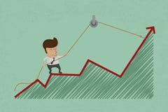 De bedrijfsmens maakt terugkaatsen de groei Royalty-vrije Stock Fotografie