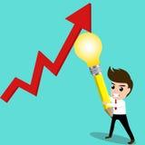 De bedrijfsmens probeert om economisch door zijn idee terug te kaatsen vector illustratie