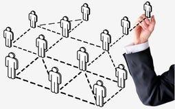 De bedrijfsmens trekt sociaal netwerk Stock Afbeelding