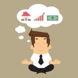 De bedrijfsmens veronderstelt bouw aan huisopbrengst, geld, in fut Stock Afbeeldingen