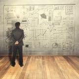 De bedrijfsmens ziet bij bedrijfsconcept op muur Royalty-vrije Stock Afbeelding